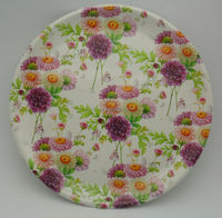 Plastic pp round plate with beautiful flower plastic storage trays,hard plastic plates