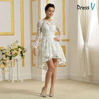 Alibaba New Model Sexy Beach Lace Front Short and Long Back Wedding Dress