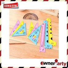 Children, kids, studends stationery cute fashion plastic triangular rule straight ruler set