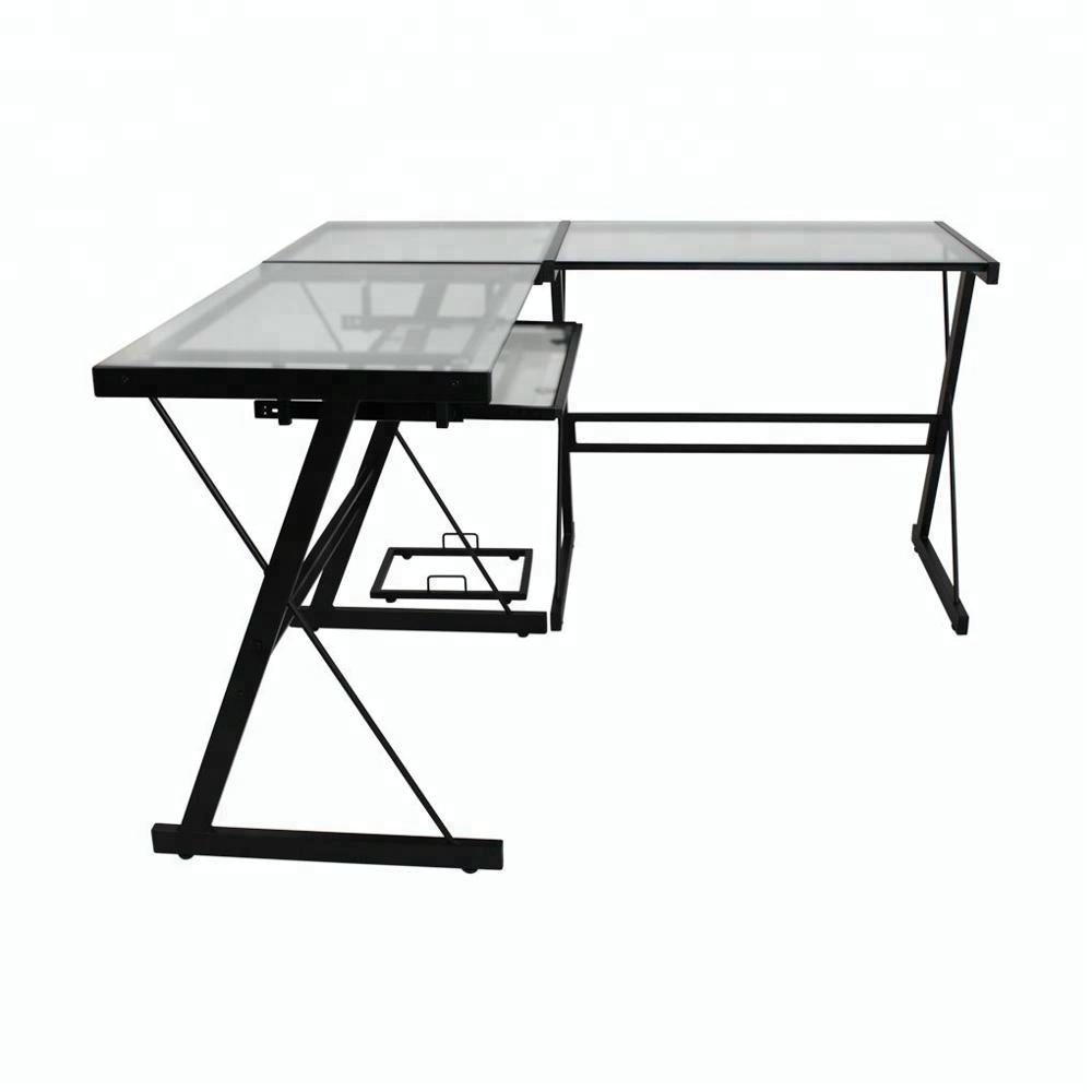 Black color modern office desk executive ceo desk glass office table in office furniture