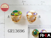 Colorful Resin Stone Plated Gold Alloy Chassis Adjustable Ring