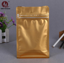 Aluminum foil custom printed zipper pouch gold 8-side sealing food chips plastic packaging bag for snacks/coffee/tea packaging