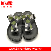 Free sample discount wide pvc buckle strap soft pe camouflage print design flip flop wholesale mens flip flop eva slippers