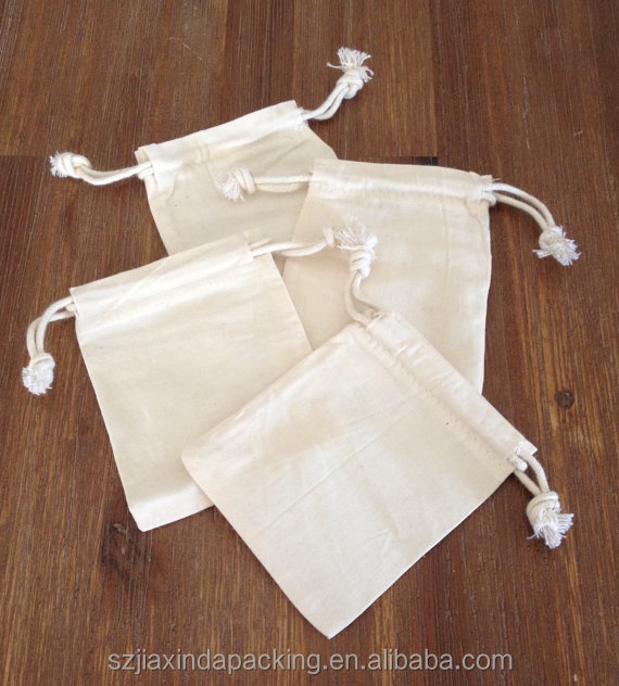 "Mini Drawstring Pouches 100% Cotton Muslin 4"" x 3"" (10cm x 8cm) washbags for soap nuts, jewellery, crystals, soaps"