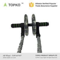 China Supplier TOPKO New Product Abdominal Exercise Ab Wheel Roller with Foam Handles, Double Wheels, Resistance bands