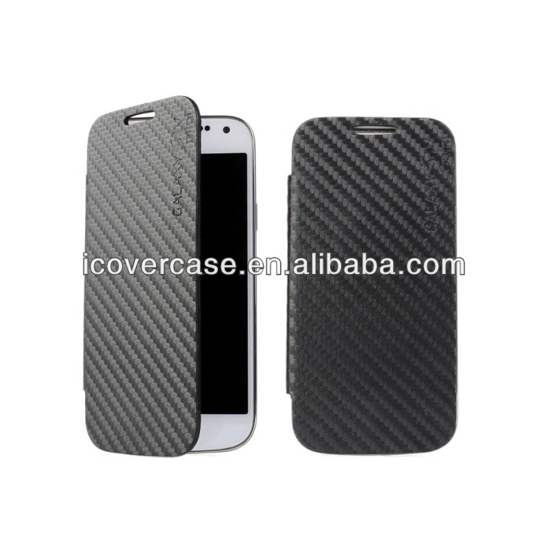 Carbon Fiber Leather Case Cover For Samsung Galaxy S4 Mini i9190 i9192 + lot Wholesale
