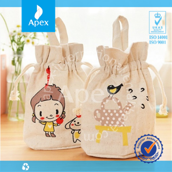 Wholesale luxury durable printed cotton drawstring shoe bag