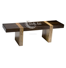 Solid Wood Block Style Sitting Bench