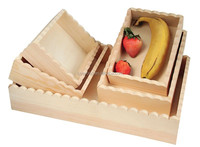 wooden nested fruit tray with wave shapes edge