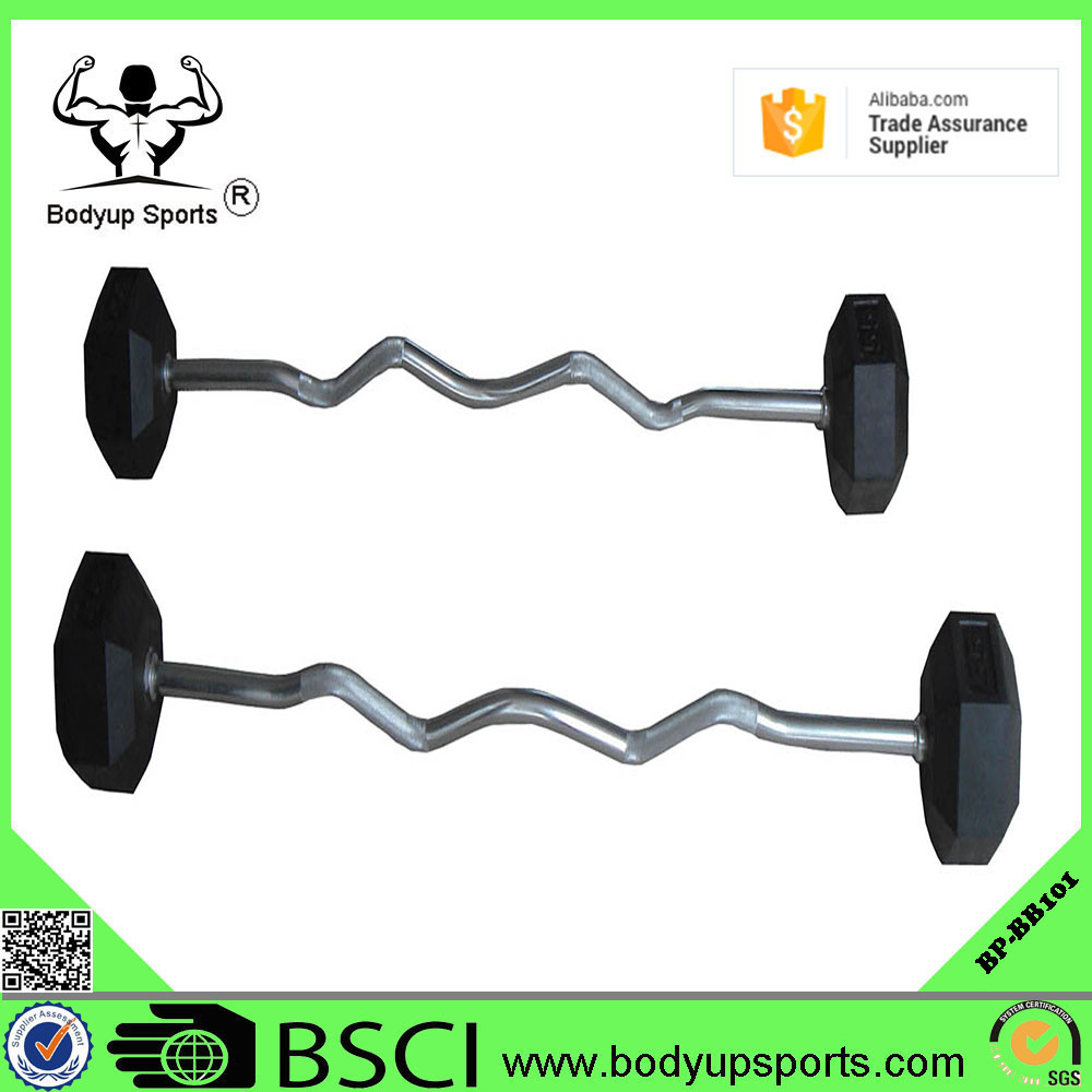 wholesale crossfit Fixed Rubber Barbell with straight or curl handle