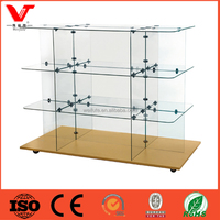 3 tiered free standing glass shoe display cabinet