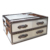 Faux leather and silver stainless steel coffee table with 3 drawers, modern coffee table, coffee talbe with drawers