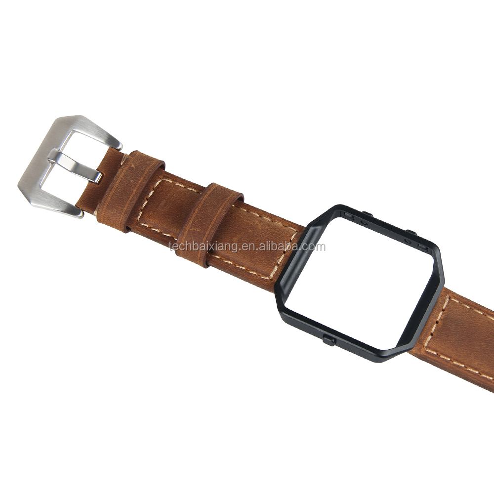 Brown Leather Elegant Men's Wrist Strap Band Accessories for Fitbit Blaze Smart Fitness Watch