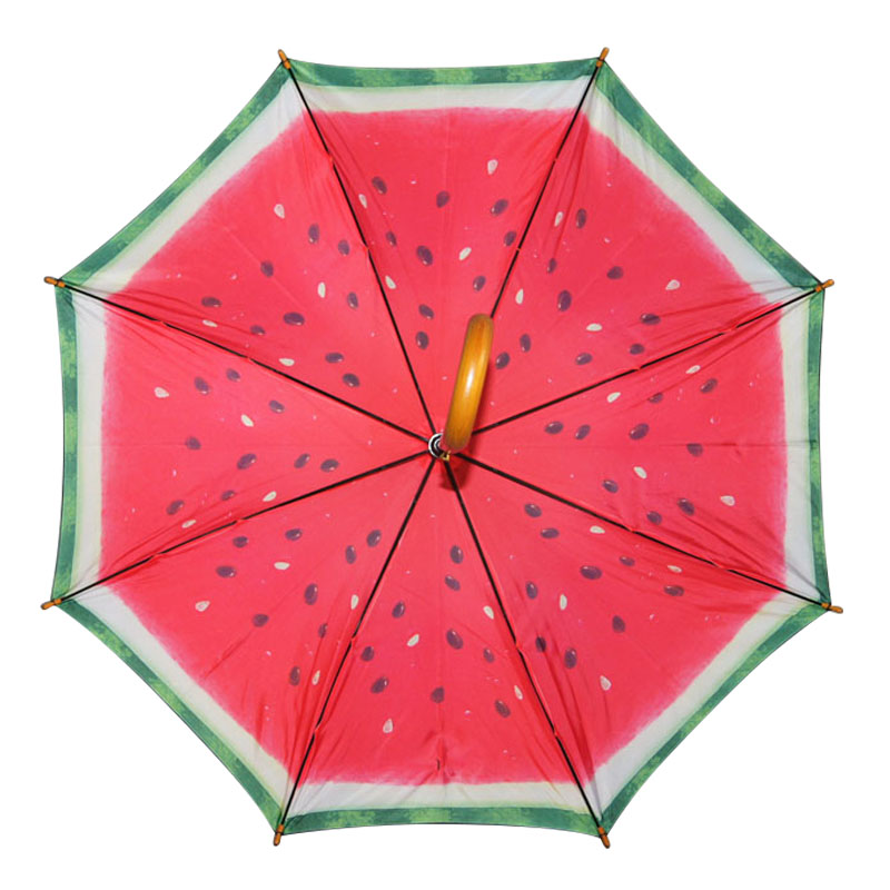Fanny melon fruit desgn double layer wooden straight umbrella