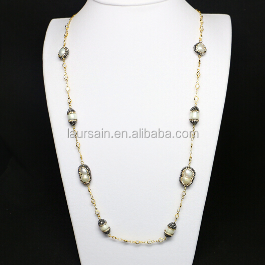 LS-D5711 Wholesale Paved Clay Freshwater Pearl Rosary Beaded Necklace
