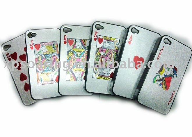 silver Poker hard case back cover for iphone 4 4G