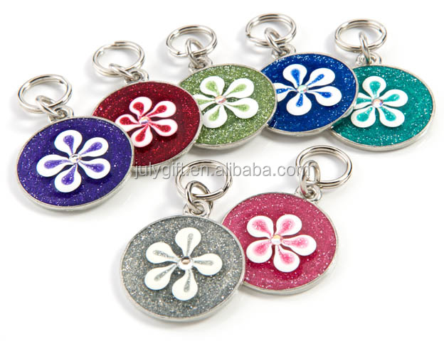 Glitter pet tags with flower design