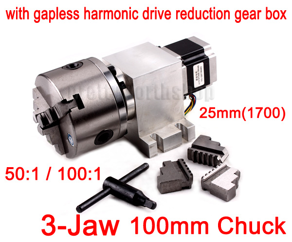 CNC Router Rotary Axis, 4th Axis, 100mm 3-Jaw Chuck with 1700 Gear Box for Lathe/Milling Machine