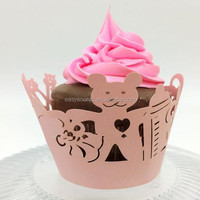 Laser cutting bear pattern Baby Shower Cupcake Wrappers with Toppers Baby Girl Boy Birthday Gender Reveal Party Decoration