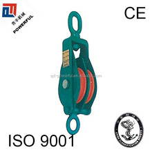 MODEL B SNATCH CLOSE TYPE WIRE ROPE STEEL PULLEY WITH OVAL EYE,DOUBLE WHEEL