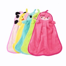 Cute Nursery Hand Towel Soft Plush Fabric Cartoon Animal Hanging Wipe Bathing Towel