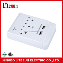 UL/ETL LA-5S 3 outlets surge protected current tap with USB ports
