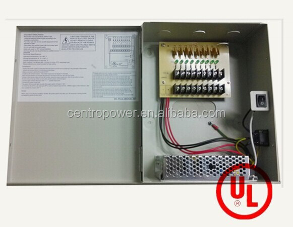 power supply 220 12v power distribution box 10A 9CH UL listed cctv power supply