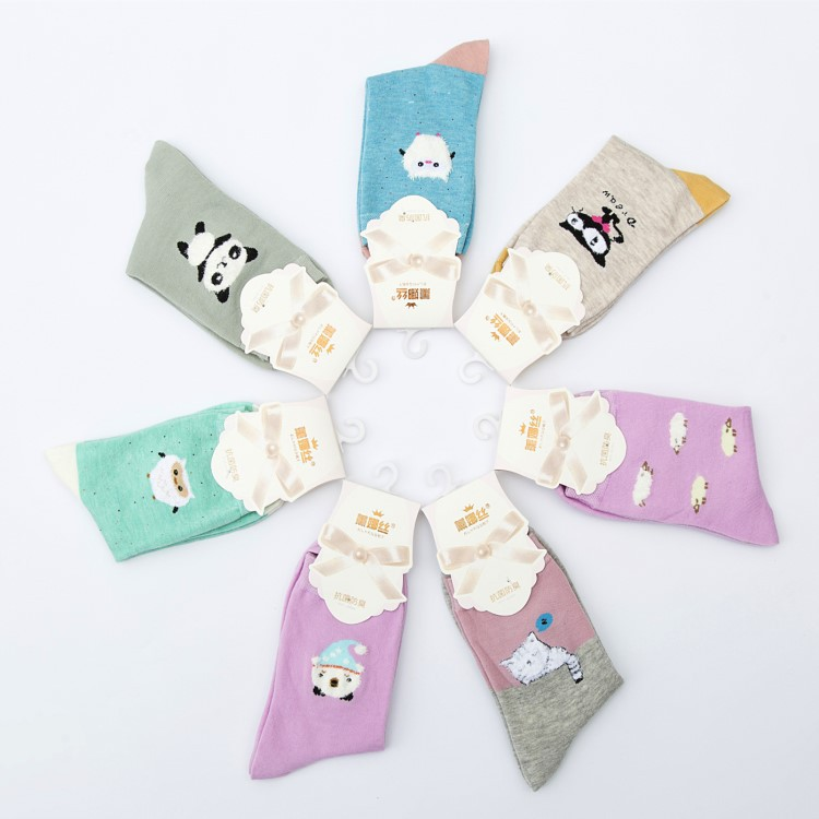Wholesale Cartoon Middle Socks Ladies Fancy Cotton Young Girl Socks