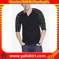 Oem fitness casual summer button neck cotton start print raglan sleeve men rock chang t-shirts