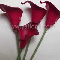 Real touch burgundy calla lily artificial flower stamen plastic calla lily flower hawaiian lilies