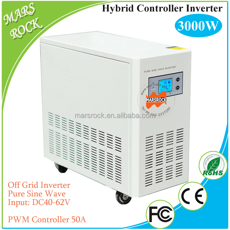 Hybrid controller inverter with UPS for off grid solar power system, 3000W 48V pure sine wave inverter with 50A PWM controller