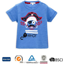 Fancy cartoon printing round neck plain 70 polyester 30 cotton no label kids 3d t-shirt