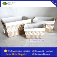 woven rush storage basket with PVC handles S/3