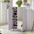 Goodlife design wood mirror shoe organizers white color