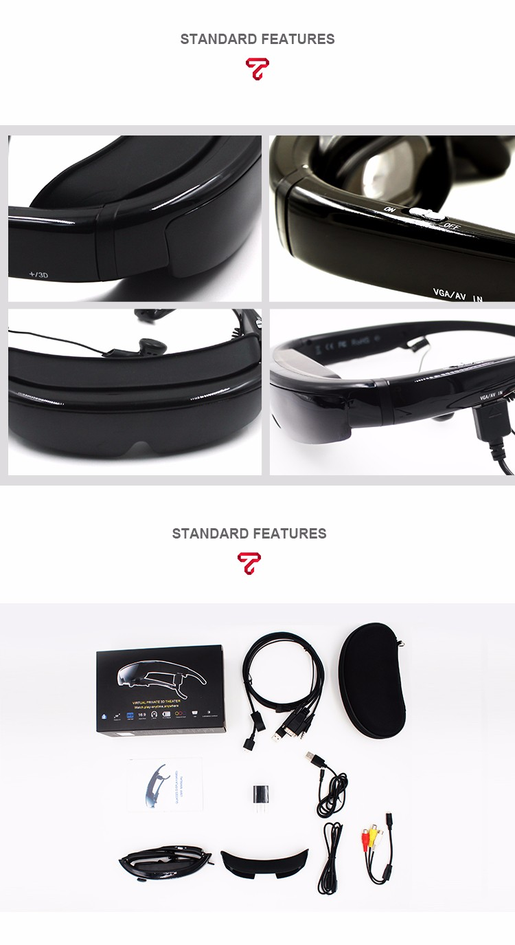 V100 personal theater HD 98 Inch 3D glasses for PC and laptop