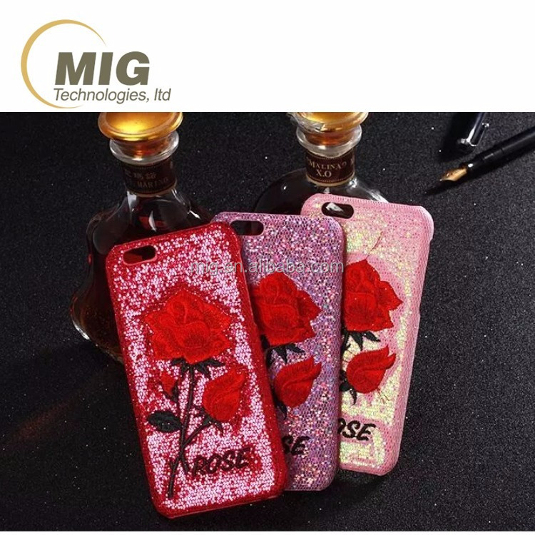 for iphone 6s rose embroidery pattern bling sequins PC Hard phone case