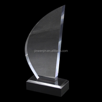 Water droplets shape acrylic trophy with stand display