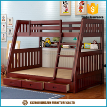 2017 new solid wooden bunk bed design,simple double decker bed for kids pine wood bunk bed