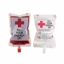 8 OZ Spouted Blood Bags for Juice, Vampire Drink Container for Halloween Party-Zombie