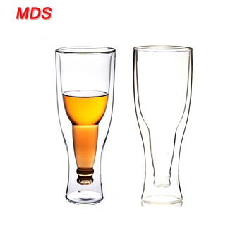 Manufacturers double wall beer borosilicate freezer mug glass