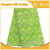 New designs italian embroidery cording mint green lace fabric for evening dress
