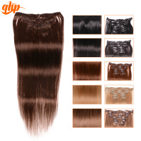 "QHP Wholesale 7pcs/set 15"" 70g clip in human hair extensions for african american"