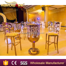 led light stainless steel night club party glass top bar table