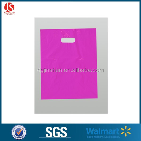 Custom Size Blue / Pink / Yellow Handle Plastic Packing Bag