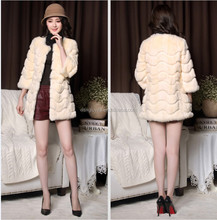 Lady's Plush Middle Long Fur Coat,Real Rabbit Fur Out Wear Coat Spring Autumn