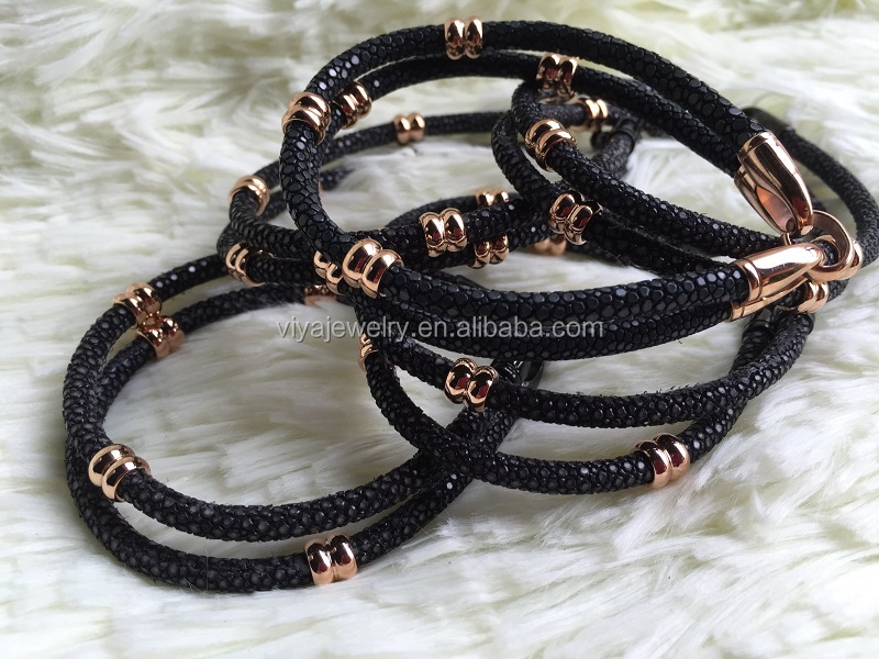 High End Genuine Stingrray Leather Cord Bracelet And Mens ...
