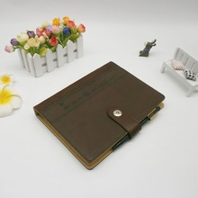 Fancy soft cover leather notebook with elastic pen holder loose leaf