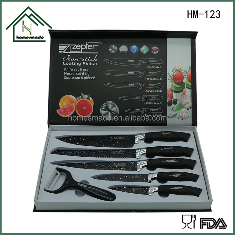 High quality butcher knife with ceramic coating and sharp blade kitchen knives set