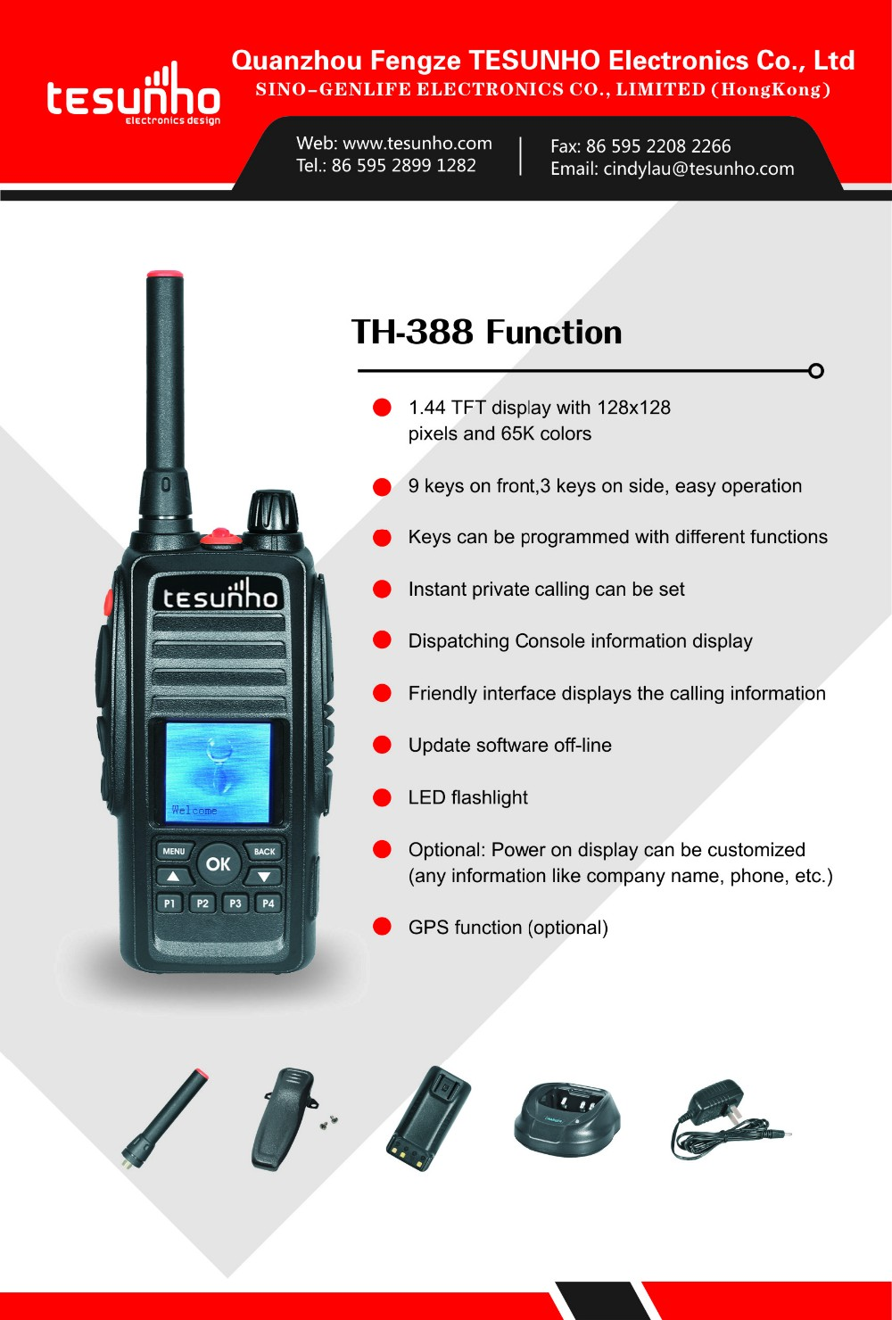 3G GPS GSM SIM CARD two way radio Tesunho TH388 PTT Network Radio