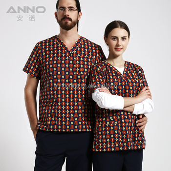 Latest anno unisex printed medical scrubs wholesale